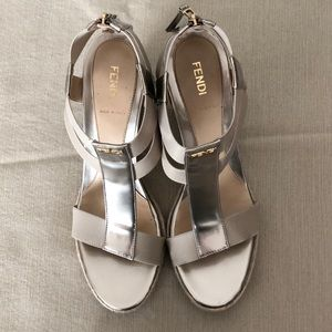 Fendi silver and gold accent wedge heel